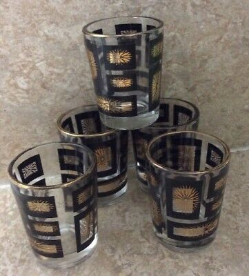 "Set of 5 Vintage Gold & Black Atomic Starburst 2.5"" shot glasses MCM"