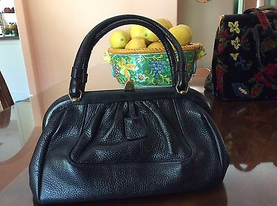 VINTAGE SABER purse handbag black LEATHER CLASSIC GOLD TONE trim floral inside