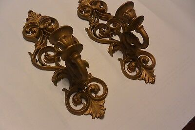 Pair of 1970 Homco Burwood Candle Wall Sconces