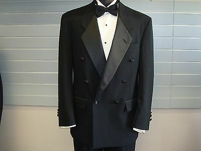 Christian Dior 100% Wool Black Double Breasted Tuxedo Jacket - 38 Regular