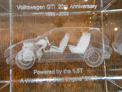 RARE Volkswagen VW GTI Lasered 3D crystal paperweight Promo 20th Annvi. FREE ShP