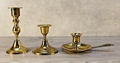 Lot of 3 VTG Brass Candle Holders, Different Shapes Sizes