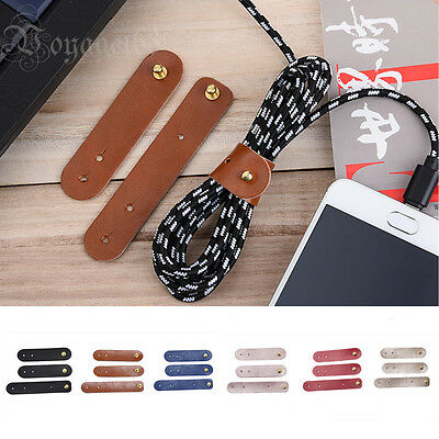 3Pcs/set  Handmade Leather Cable Cord Winder Holder Tie For Earphone Cell phone