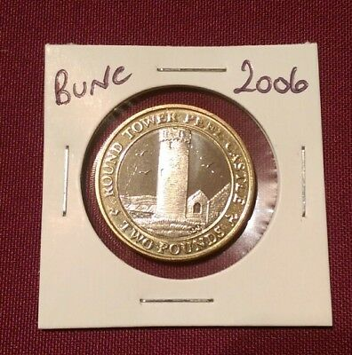 2006 Isle of Man Bunc £2 Coin,Round Tower,Peel Castle,Two Pound,Unc/Bu