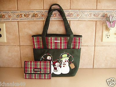 Longaberger Holiday Plaid Snowman Family Tote Purse & Wallet Nip * Free Shipping