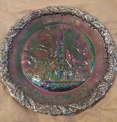 """Christmas 1973 """"st. Mary's In The Mountains"""" Fenton Carnival Collector's Plate"""