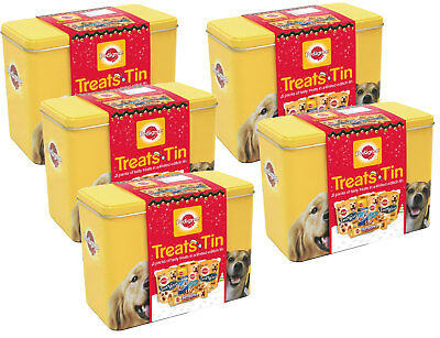 Pedigree Christmas Dog Treat Tin Chew Pack of 5 Tins Gift Festive