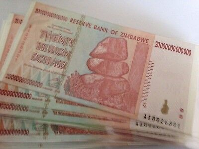 *  Zimbabwe 20 TRILLION Dollars 2007 Mint UNC Genuine Uncirculated Banknote