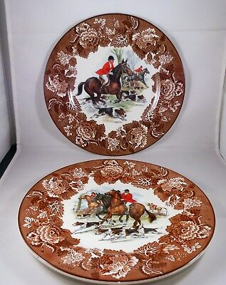 2 FOX HUNTING PLATES Horse Hound Rider Hunt Scene Hunter Wood & Sons England
