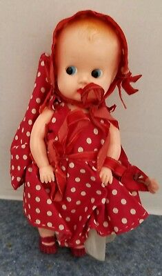 Vintage All Plastic Sleepy Eyed Baby in Red Polka Dot Outfit
