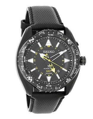 Seiko Prospex SUN057 Men's Kinetic Leather Band Black Dial GMT Analog Watch