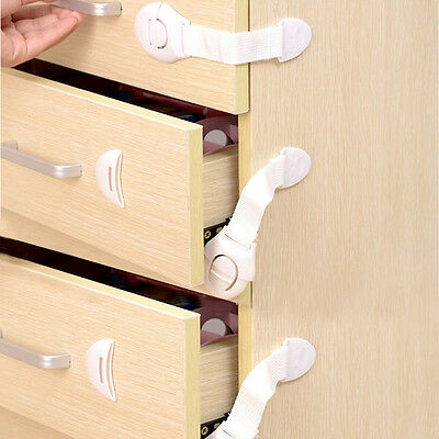 10Pc/set Child Baby Proof Door Cupboard Cabinet Drawer Adhesive Baby Safety Lock