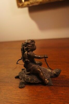 Stunning 18th - early 19th Century bronze figure of Cupid riding a Turtle