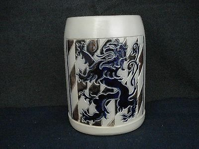 Vintage W German Salt Glaze Beer Stein Mug Marked RM 426/4 D Cobalt Blue Dragon