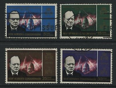 New Hebrides 1966 Winston Churchill set of 4 stamps SG114-117 Used - AY117