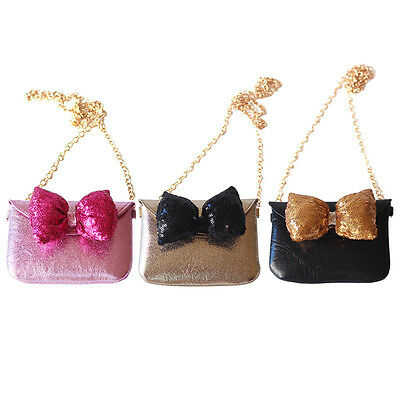 Shiny Girls Bowknot Cartoon Crossbody Bag Mini Kids Sling Change Purse Handbag
