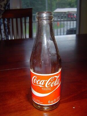 Vintage Coca Cola Glass Bottle 6oz Paper Label French & English writing