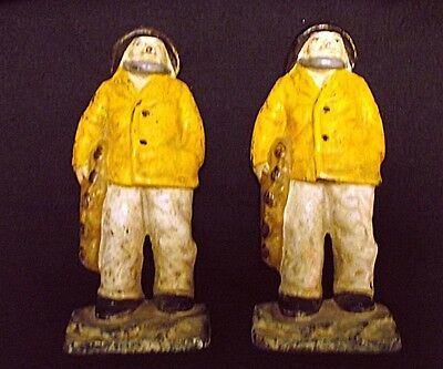 Pr GENUINE Vtg Antique Cast Iron Sailor Bookends Doorstops Painted 2PC