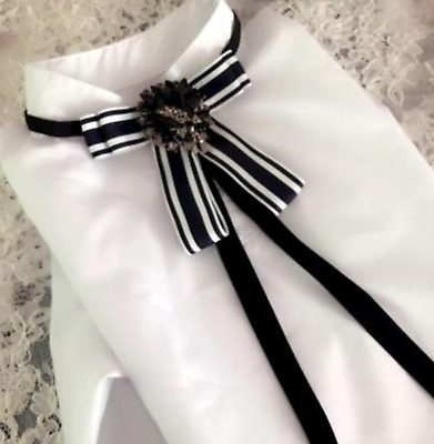 Vintage Style Dress Shirt Accessories Black And White Crystal Bow Tie Neck Tie