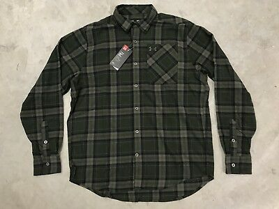 Under Armour Borderland Flannel Long Sleeve Plaid Hunting Shirt SZ (1279839-357)