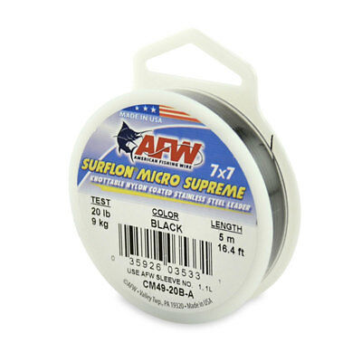 AFW Surflon Micro Supreme Stainless Lead Wire Nylon Coated 7x7 All Sizes