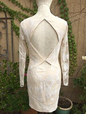 Katie May Gorgeous Cutout Back Embroidered Custom Sheer Mini Dress Size 4