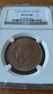 Great Britain 1936  George V Penny Ngc  Ms65 Rb