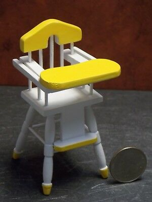 Dollhouse Miniature Baby High Chair White Yellow 1:12  scale Y52 Dollys Gallery