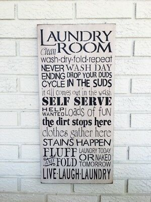 Laundry Room Sign, Laundry Room Art, Typography Sign, Rustic Wood Sign, Laundry