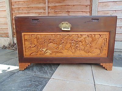Vintage Chinese Camphor Chest Original Key Glass topped