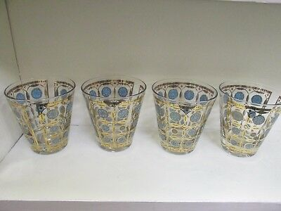 Lot Of 4 Turquoise Blue Culver Flared Highball Glasses 22Kt Gold Mid Century Euc