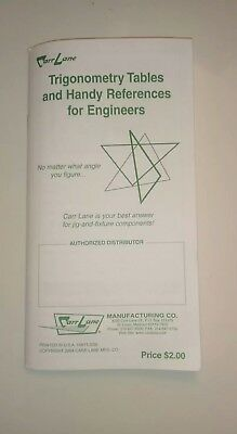 Carr Lane Trigonometry Tables & Handy References For Engineers Trig Book 2004