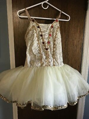 Curtain Call Adult Size 10A Beige And Gold Short Tutu
