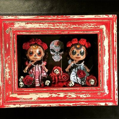Day Of The Dead Doll Shadow Box Ooak hand made signed wall art