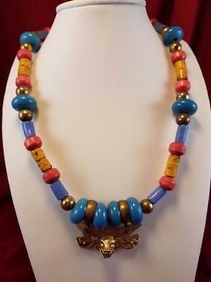 Vintage Art Deco brass and blue Lapis and bead medallion Runway necklace