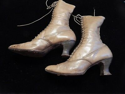 Antique pair ladies leather high top lace shoes..all original