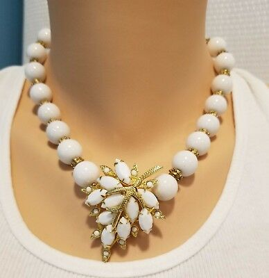 Vintage white milk glass brooch necklace white glass beads gold tone spacers