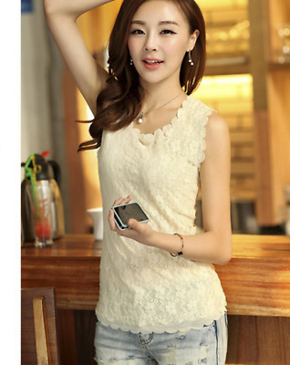 New Womens Floral Lace Wave Vest  Tank Top Ladies Stunning T-shirt Blouse Beige