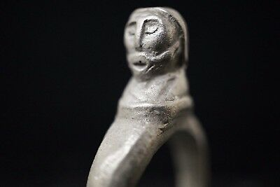 Ancient Viking Silver Finger Ring depicting Head of Norse God, circa 950-1000 AD
