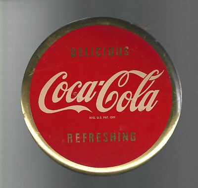 VINTAGE COCA COLA BUTTON SIGN 1950s Philadelphia Badge Co 9inch Round Red & Gold
