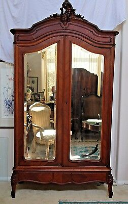 Gorgeous French Carved Walnut Armoire Wardrobe Double Beveled Mirror doors