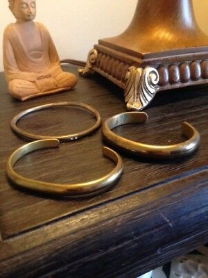 VINTAGE SOLID BRASS CUFFS BRACELETS LOT of 3 REDUCED!