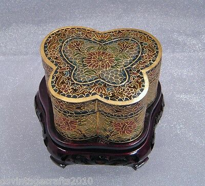 Chinese Plique a Jour Cloisonné vintage Floral Butterfly Box Carved Stand NOS