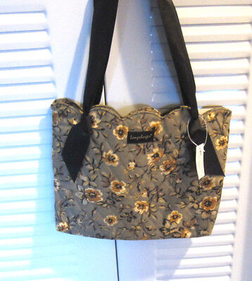 Longaberger Floral Tote 2007 Bee Homestead Grey Yellow Black Ribbon Handle NWT
