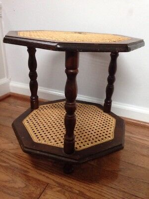 CANE WICKER RATTAN WOOD VINTAGE ANTIQUE Plant Stand Octagon Table 2 Tiered
