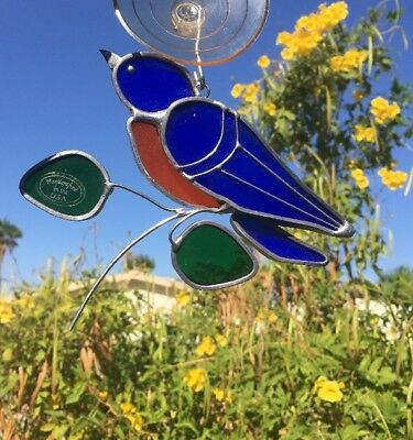 Blue Bird Stained Glass Sun Catcher Window Hanging Art