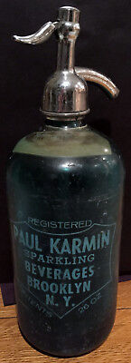 Blue Glass Seltzer Bottle With Advertising--Vintage