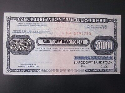 1990 Poland  20000 zlotych travellers cheque rare nominal