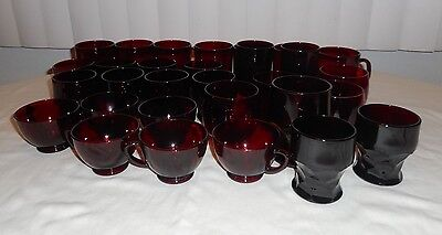 Set of 30 ARCOROC France Ruby Red Glasses Glassware Mugs Coffee Cup Wine Glass