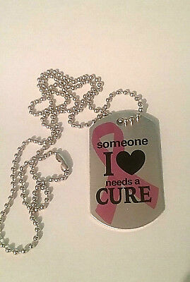"DOG TAG PINK RIBBON BREAST CANCER CURE NECKLACE with 30"" CHAIN GREAT GIFT NIP"